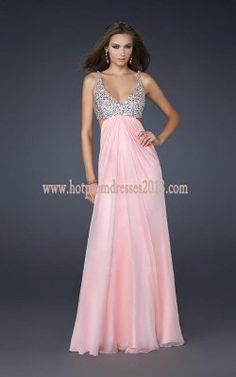 Long Two Beaded Straps Cotton Candy Pink Dresses [Pink Dresses for Prom] - $179.00 : Discount Dresses for Prom 2013,Up 50% Off