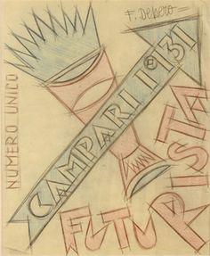 Fortunato Depero (1892-1960, Italy), ca. 1931, Sketch for Campari Futurista.