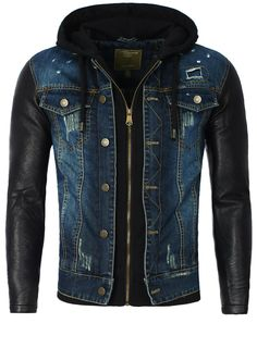 Men Jean Jacket hooded by Young & Rich blue