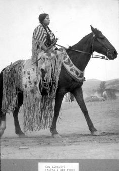Nez Perce woman named Ann Kamiakin George on horseback, Washington