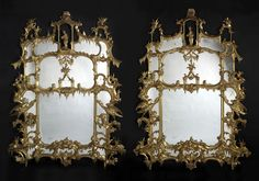 An Exceptional Pair of Finely Carved Chippendale 'Director Style' Chinoiserie Pier Glasses. Each mirror is divided into two main sections by 'C'-scrolls, 'S'-scrolls and rockwork. The upper sections are further divided by a temple folly and foliate tendrils and flanked by twelve further mirrored panels. The frame is richly carved with fleshy acanthus, 'C' and 'S'-scrolls and perching Ho-Ho Birds, the whole surmounted by a rustic Chinese figure within a fanciful pagoda. England, Circa 1860.