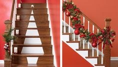 use shelf liner to make Christmas tree on stair risers - Lowe's Creative Ideas via @Remodelaholic