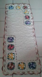 Arte em Crochet: Tapete em barbante com flores