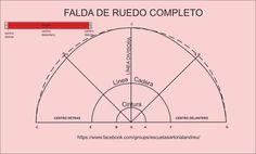 Curso de patrones base y moda: Falda plato o ruedo  completa paso a paso Line, Chart, Map, Google, Pattern, Stuff Stuff, Vestidos, Patterns, Step By Step