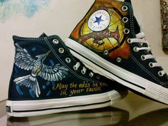 Mockingjay Hunger Game Inspired Hand Painted Converse Shoes High Top. $95.00, via Etsy.