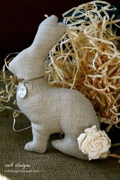 Our linen bunny pattern continues to be very popular this time of year, so I thought I would create a little friend for him. Introducing our sweet little Easter chick. She has her own vintage religious medal and a pair...
