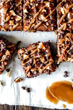 Crazy moist Poke Turtle Brownies seeping with pockets of caramel, infused with pecans and chocolate chips, smothered in the BESTchocolate ...