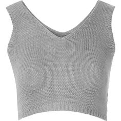 Grey Knit Crop Top ($22) ❤ liked on Polyvore featuring tops, crop tops, shirts, grey, grey shirt, strappy top, gray top, gray shirt and grey vest