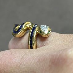 18k Sapphire Snake Ring 2.5 ct natural Ceylon Sapphire.  0.15 cttw diamond head.  Natural emerald eyes.  15.5 gms of 18k gold.  Not for sale.  Just for sharing. Jewelry Rings
