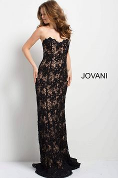 bcdecf5acd Black and Nude Sweetheart Neck Beaded Lace Dress  45192  Jovani  PROM2018  Black Lace