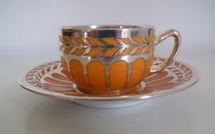 RARE-Rosenthal-Yellow-German-Porcelain-Silver-Overlay-Demitasse-Cup-Art-Deco