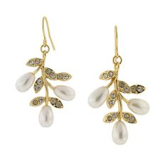 Gold-Tone Swarovski Crystal Elements and Simulated Pearl Leaf Drop Earrings