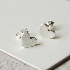 Sterling Silver Satin Heart Earrings