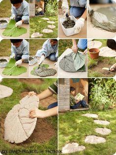 Crie e venda: No lugar das pedras,folhas feitas de cimento.