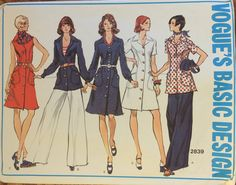 """VTG 2839 Vogue (1973) Vogue Basic Design dress, tunic, pants.  Size 16, Bust 38"""".  Complete, unused, FF. Excellent condition. by ThePatternParlor on Etsy"""