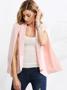 Shop Pink Shawl Collar Cape Sleeve Blazer online. SheIn offers Pink Shawl Collar…