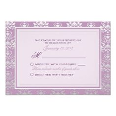 ShoppingAfrican Violet & Silver Damask Wedding RSVP Custom Personalized Announcementin each seller & make purchase online for cheap. Choose the best price and best promotion as you thing Secure Checkout you can trust Buy best