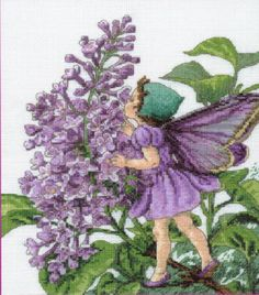 Cross stitch - fairies: Lilac fairy - Cicely Mary Barker (free pattern with chart)