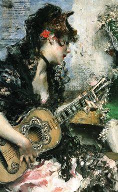 """Giovanni Boldini (Italian, 1842-1931) """"Serenata"""" dettaglio 1873"""