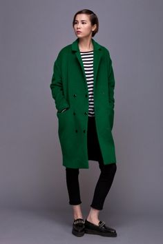 Front Row Shop Vintage Cocoon coat grass pure women fashion green coat