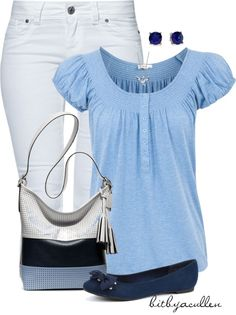 """""""Blue 'n White"""" by bitbyacullen ❤ liked on Polyvore"""