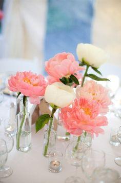single blooms in various vases - love this look