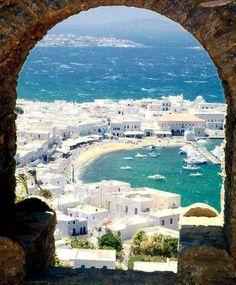 The beautiful harbour of Mykonos Island, Greece