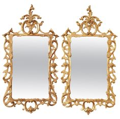 Antique Pair Chippendale Carved Giltwood Mirrors, c.1765 | From a unique collection of antique and modern wall mirrors at http://www.1stdibs.com/furniture/mirrors/wall-mirrors/