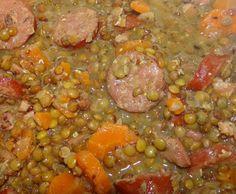 Recette saucisses de Montbéliard aux lentilles par sylvie.louis - recette de la catégorie Plat principal - divers