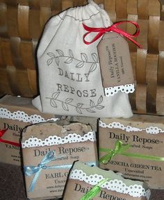 Your Choice of Tea Soap in Handmade Muslin Bag $7