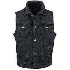 2dbc51a65d Classic biker style black denim vest with collar  denim  motorcycles Denim  Vest Men