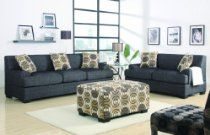 Retro Style Sofa And Loveseat Set Ash Black Fabric (No Ottoman Included)-Go bold and beyond with this striking sofa and loveseat l in a textured linen. Merging edgy and a sophisticated design in a multi-unit featuring a love seat, sofa. Small Sectional Sofa, Sofa And Loveseat Set, Couch Set, Linen Sofa, Upholstered Sofa, Living Room Sets, Living Room Furniture, Ottoman Furniture, Furniture Showroom