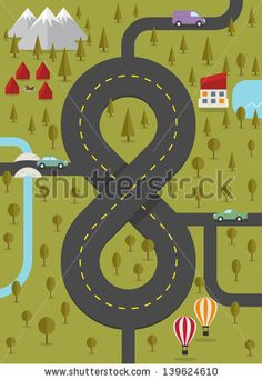 Background with road in the form of eight. Vector illustration. - stock vector