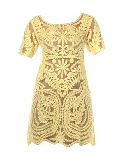 SLICK   Embroidered Lace Dress in Yellow - Women - Style36  #RihannaStyle36