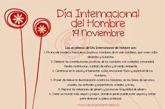 Día Internacional del Hombre - 19 de Noviembre Men's Day, Diy And Crafts, Congratulations, Poems, Happy Birthday, Feelings, International Day, Amor, Paper