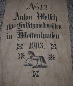 RRRR- Antique German GRAIN SACK 1903 Original Printing Both Sides,HORSE