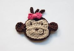 PDF Crochet Pattern - Monkey Applique  - Text instructions and SYMBOL CHART instructions - Permission to Sell Finished Items. $3.75, via Etsy.
