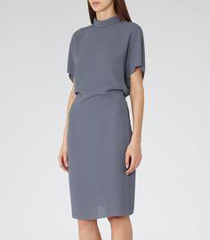 Womens Blue High-neck Dress - Reiss Berry