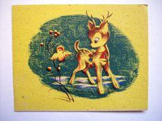 Sleigh Bell on Reindeer with bird Kraftone  CHRISTMAS VINTAGE GREETING CARD *W