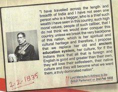 Lord Macaulay's address to the British Parliament, 2nd Feb, 1835