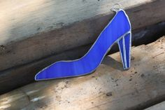 Blue High Heeled Shoe by glassgallerygirls on Etsy, $13.00