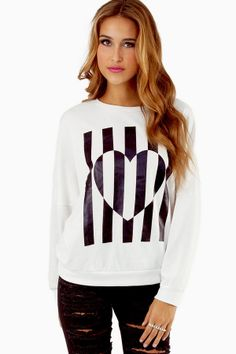 STRIPE AT THE HEART SWEATSHIRT