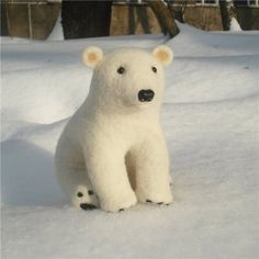 Handmade Needle Felted Wool Polar Bear.