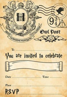 Harry Potter Party Invitations Plus FREE Envelopes Baby Harry Potter, Harry Potter World, Harry Potter Motto Party, Harry Potter Invitations, Harry Potter Halloween Party, Harry Potter Classroom, Harry Potter Printables, Theme Harry Potter, Harry Potter Baby Shower