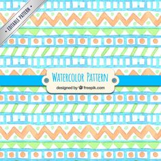 Colorful watercolor pattern in ethnic style Free Vector