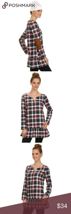 Long Sleeve Plaid Tunic with Elbow Patches ☀️END OF SUMMER SALE☀️Get ready for Fall with this plaid long sleeve tunic with faux suede elbow patch. Material content is 60% Cotton 40% Polyester. Comes in bag from wholesaler. Fashionomics Tops Tunics