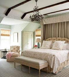 A modern translation of an old-world style is culminated in this incredible master bedroom: http://www.bhg.com/rooms/bedroom/master-bedroom/master-bedroom-ideas/?socsrc=bhgpin013114reinterpretalook&page=16