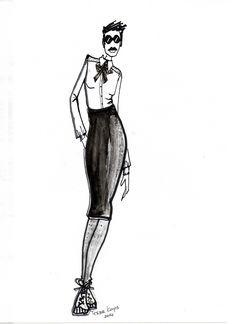 French way of wearing the pencil skirt, illustrated by TESSA KOOPS www.tessakoops.com