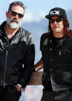 Jeffrey Dean Morgan and Norman Reedus photographed while filming an episode of 'Ride With Norman Reedus′ in Barcelona, Spain on March 14th, 2017.