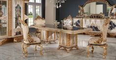 Luxury Dining Room, Vanity, Mirror, Furniture, Home Decor, Dressing Tables, Powder Room, Decoration Home, Room Decor